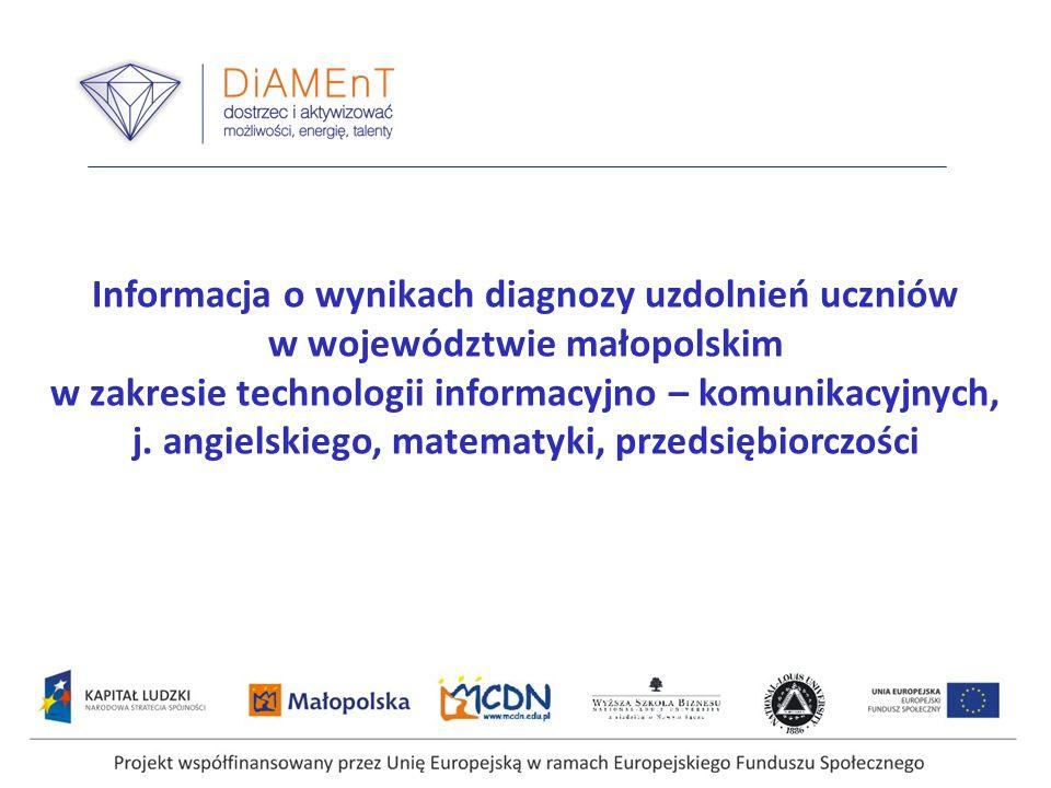 Informacja o wynikach diagnozy uzdolnień uczniów w województwie małopolskim w zakresie technologii informacyjno – komunikacyjnych, j. angielskiego, ma