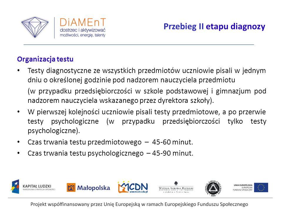 Przebieg II etapu diagnozy Organizacja testu Testy diagnostyczne ze wszystkich przedmiotów uczniowie pisali w jednym dniu o określonej godzinie pod na