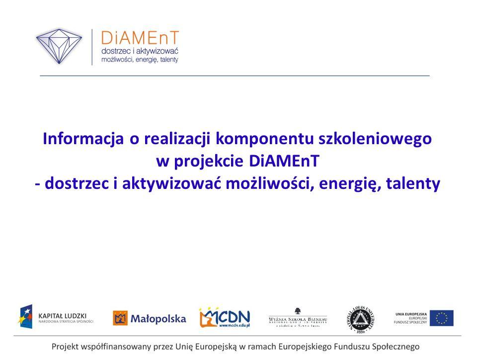 Informacja o realizacji komponentu szkoleniowego w projekcie DiAMEnT - dostrzec i aktywizować możliwości, energię, talenty