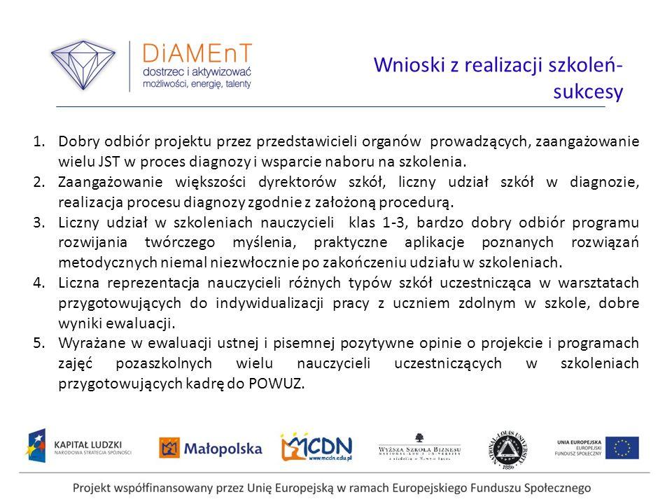 1.Dobry odbiór projektu przez przedstawicieli organów prowadzących, zaangażowanie wielu JST w proces diagnozy i wsparcie naboru na szkolenia.
