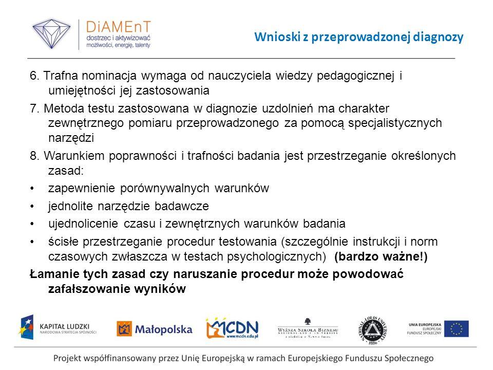 Wnioski z przeprowadzonej diagnozy 6. Trafna nominacja wymaga od nauczyciela wiedzy pedagogicznej i umiejętności jej zastosowania 7. Metoda testu zast