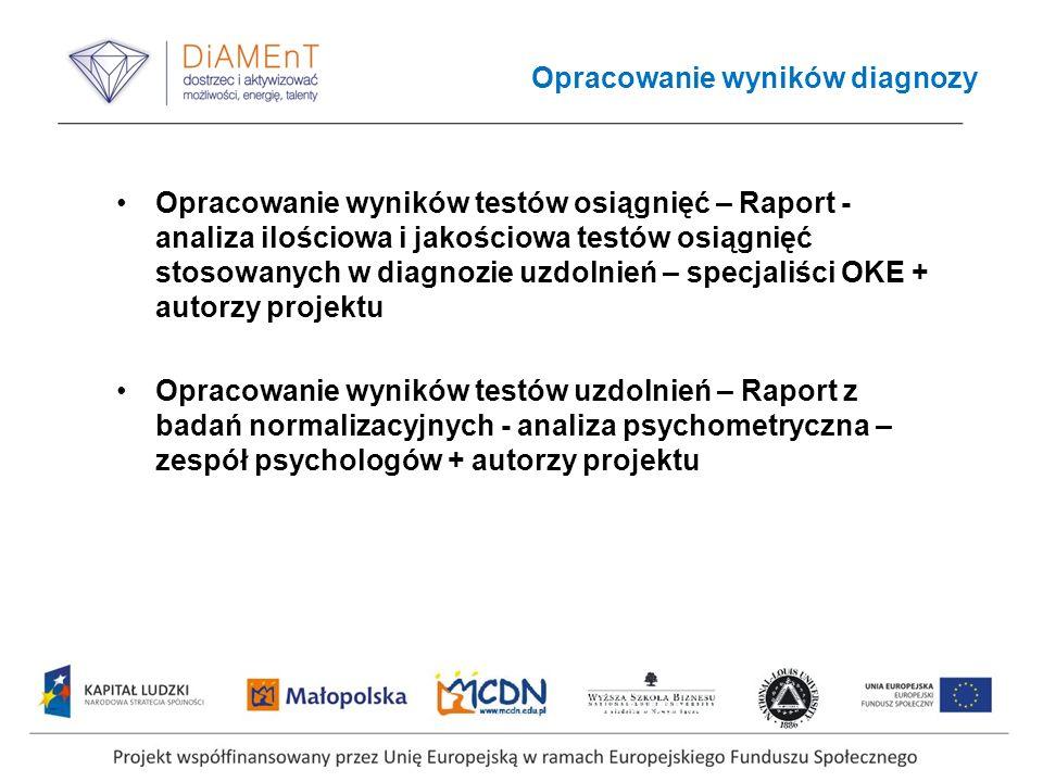 Opracowanie wyników diagnozy Opracowanie wyników testów osiągnięć – Raport - analiza ilościowa i jakościowa testów osiągnięć stosowanych w diagnozie u