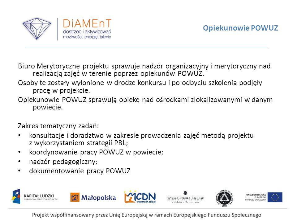 Opiekunowie POWUZ Biuro Merytoryczne projektu sprawuje nadzór organizacyjny i merytoryczny nad realizacją zajęć w terenie poprzez opiekunów POWUZ. Oso