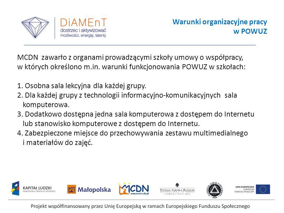 Warunki organizacyjne pracy w POWUZ MCDN zawarło z organami prowadzącymi szkoły umowy o współpracy, w których określono m.in. warunki funkcjonowania P