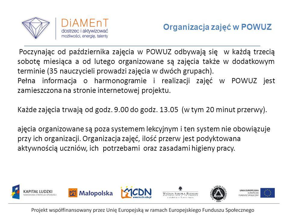 Organizacja zajęć w POWUZ Poczynając od października zajęcia w POWUZ odbywają się w każdą trzecią sobotę miesiąca a od lutego organizowane są zajęcia