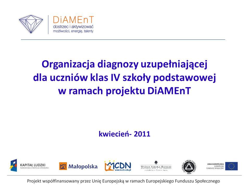 Organizacja diagnozy uzupełniającej dla uczniów klas IV szkoły podstawowej w ramach projektu DiAMEnT kwiecień- 2011 Projekt współfinansowany przez Uni