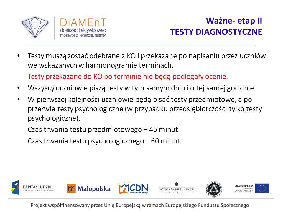 Projekt współfinansowany przez Unię Europejską w ramach Europejskiego Funduszu Społecznego Ważne- etap II TESTY DIAGNOSTYCZNE Testy muszą zostać odebr