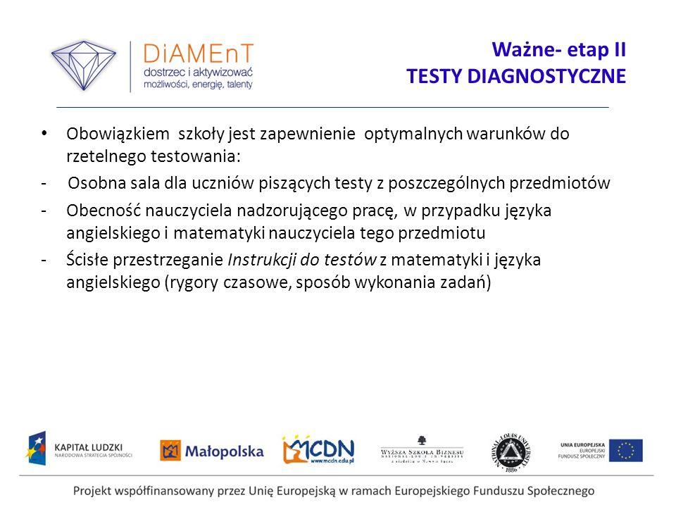 Projekt współfinansowany przez Unię Europejską w ramach Europejskiego Funduszu Społecznego Ważne- etap II TESTY DIAGNOSTYCZNE Obowiązkiem szkoły jest