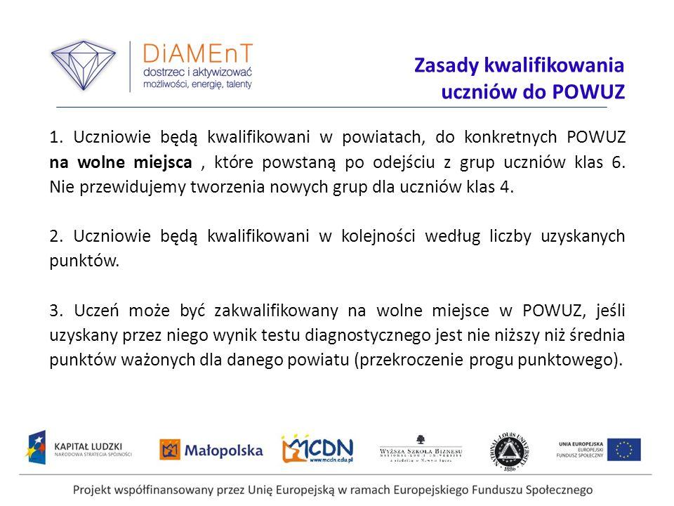 Projekt współfinansowany przez Unię Europejską w ramach Europejskiego Funduszu Społecznego 1. Uczniowie będą kwalifikowani w powiatach, do konkretnych