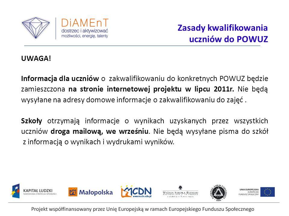 Projekt współfinansowany przez Unię Europejską w ramach Europejskiego Funduszu Społecznego UWAGA! Informacja dla uczniów o zakwalifikowaniu do konkret