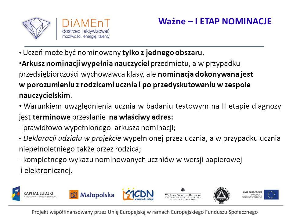 Projekt współfinansowany przez Unię Europejską w ramach Europejskiego Funduszu Społecznego Uczeń może być nominowany tylko z jednego obszaru. Arkusz n