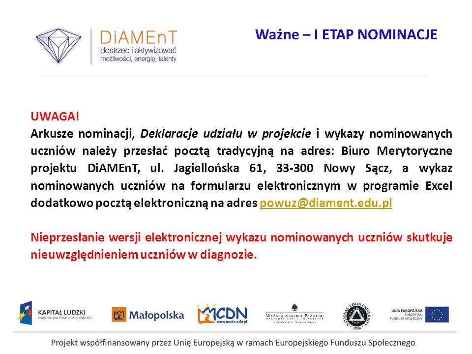 Projekt współfinansowany przez Unię Europejską w ramach Europejskiego Funduszu Społecznego UWAGA! Arkusze nominacji, Deklaracje udziału w projekcie i