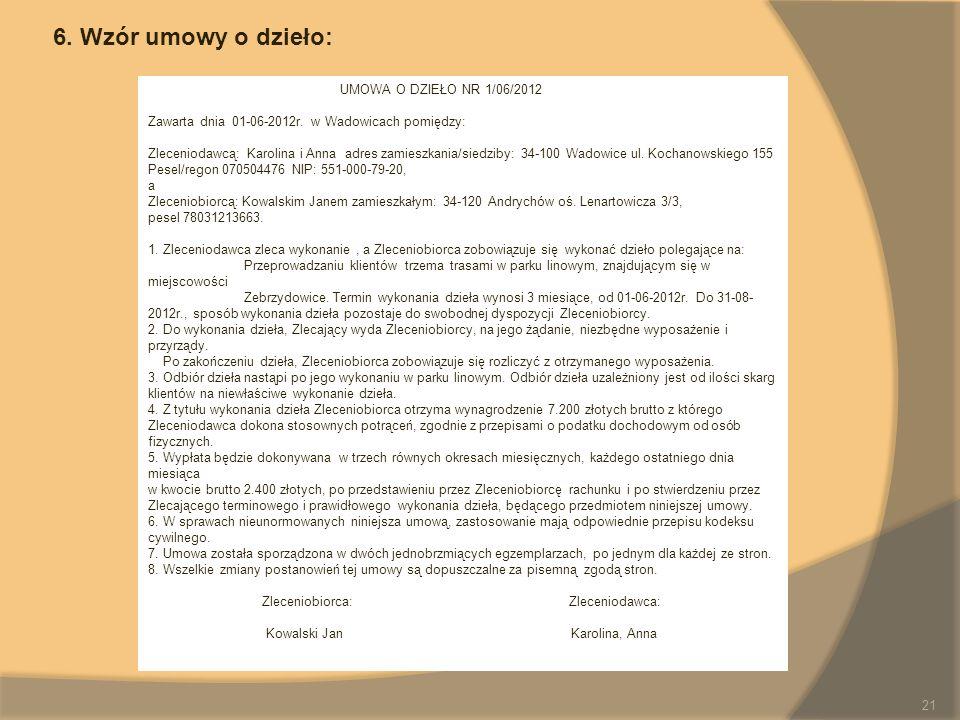 UMOWA O DZIEŁO NR 1/06/2012 Zawarta dnia 01-06-2012r. w Wadowicach pomiędzy: Zleceniodawcą: Karolina i Anna adres zamieszkania/siedziby: 34-100 Wadowi