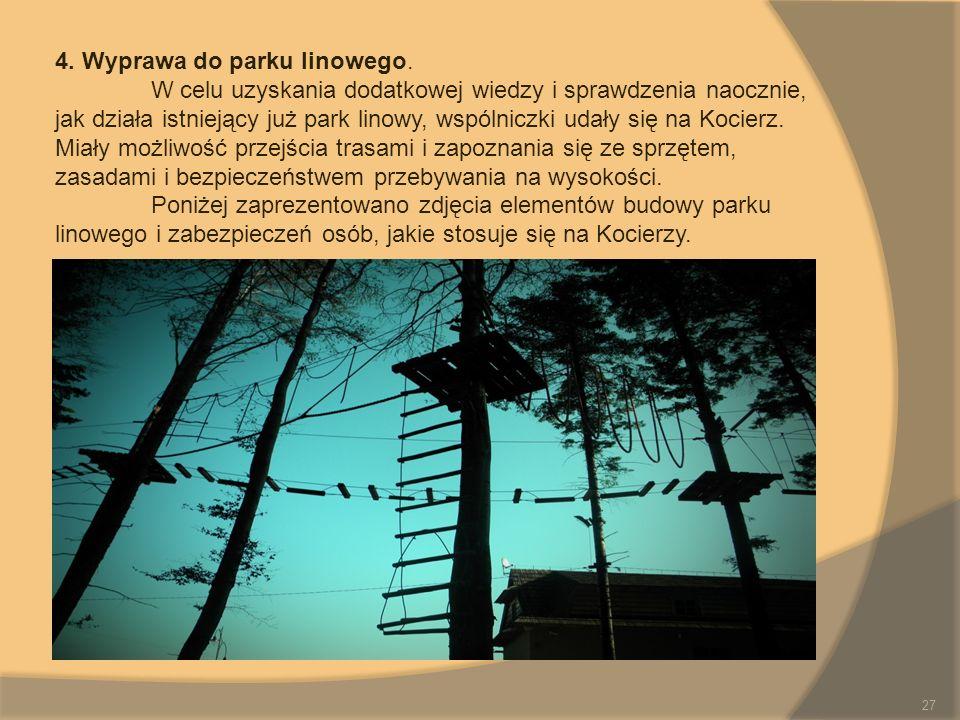 4. Wyprawa do parku linowego. W celu uzyskania dodatkowej wiedzy i sprawdzenia naocznie, jak działa istniejący już park linowy, wspólniczki udały się