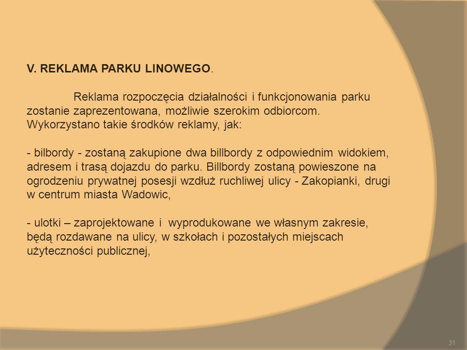 V. REKLAMA PARKU LINOWEGO. Reklama rozpoczęcia działalności i funkcjonowania parku zostanie zaprezentowana, możliwie szerokim odbiorcom. Wykorzystano