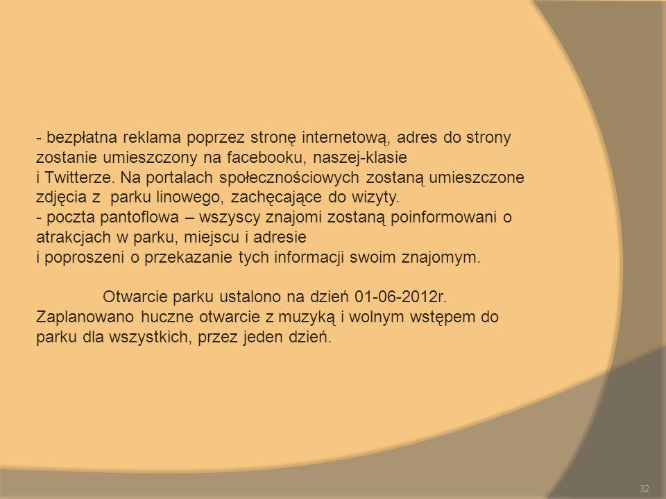 - bezpłatna reklama poprzez stronę internetową, adres do strony zostanie umieszczony na facebooku, naszej-klasie i Twitterze. Na portalach społecznośc