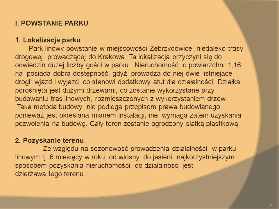 I. POWSTANIE PARKU 1. Lokalizacja parku. Park linowy powstanie w miejscowości Zebrzydowice, niedaleko trasy drogowej, prowadzącej do Krakowa. Ta lokal