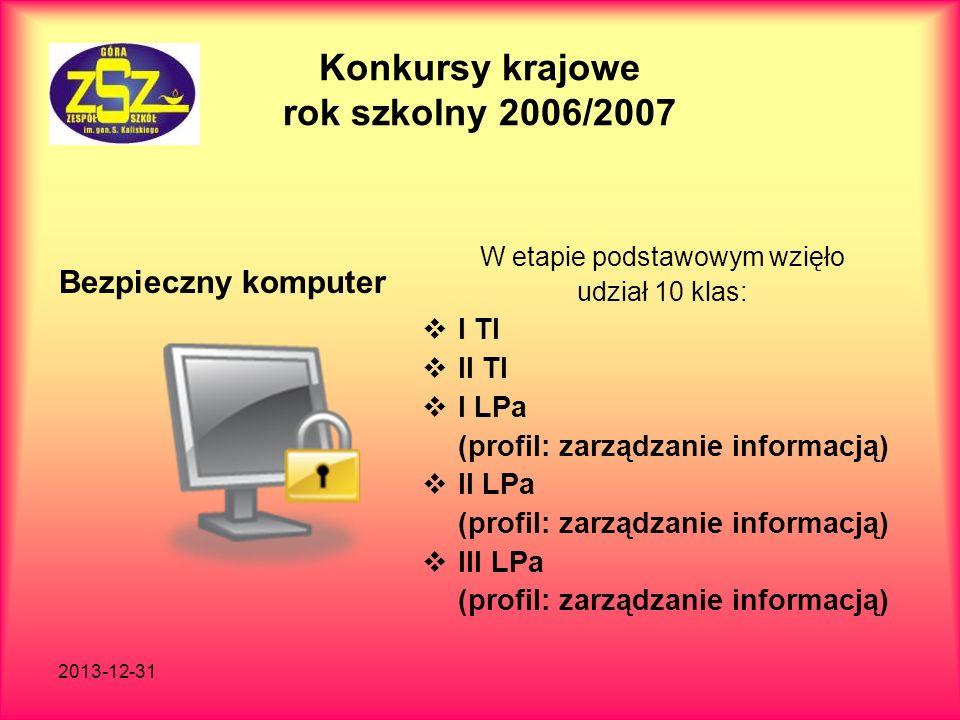 2013-12-31 Konkursy krajowe rok szkolny 2006/2007 Bezpieczny komputer W etapie podstawowym wzięło udział 10 klas: I TI II TI I LPa (profil: zarządzani