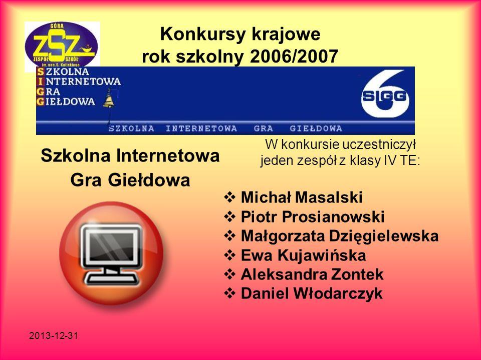 2013-12-31 Konkursy krajowe rok szkolny 2006/2007 Szkolna Internetowa Gra Giełdowa W konkursie uczestniczył jeden zespół z klasy IV TE: Michał Masalsk