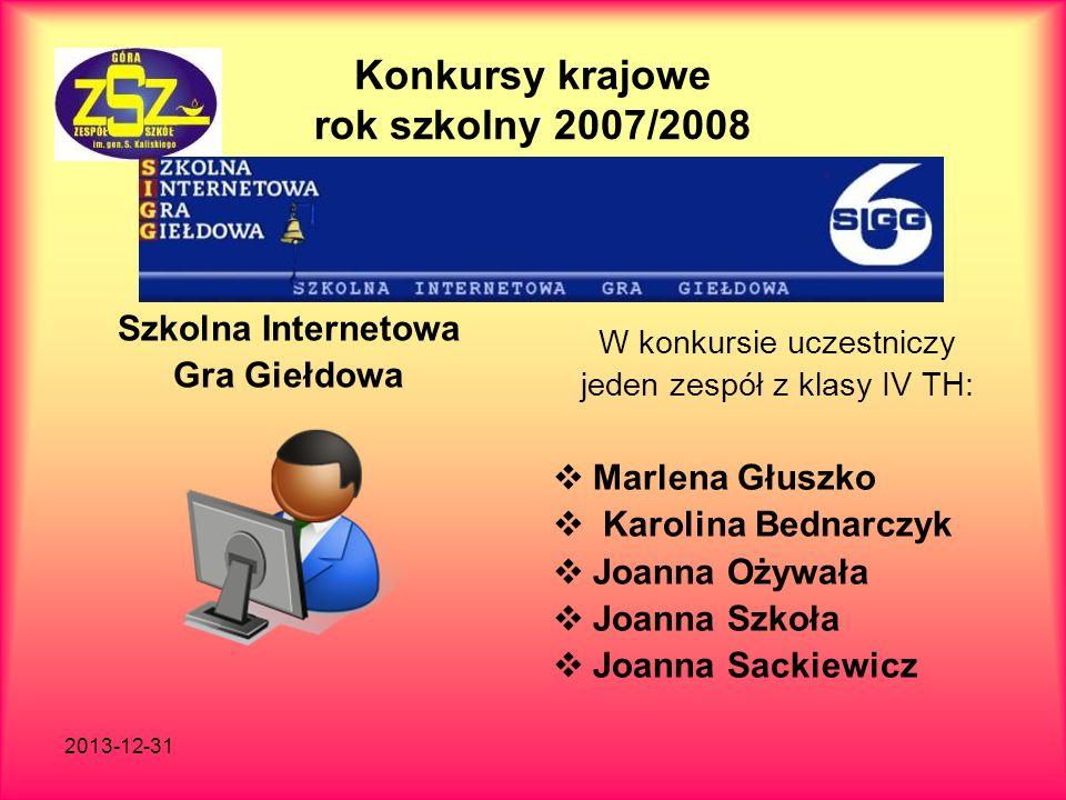 2013-12-31 Konkursy krajowe rok szkolny 2007/2008 Szkolna Internetowa Gra Giełdowa W konkursie uczestniczy jeden zespół z klasy IV TH: Marlena Głuszko