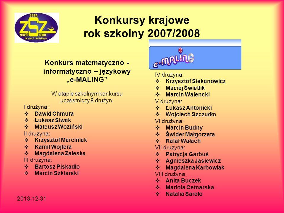 2013-12-31 Konkursy krajowe rok szkolny 2007/2008 Konkurs matematyczno - informatyczno – językowy e-MALING W etapie szkolnym konkursu uczestniczy 8 dr