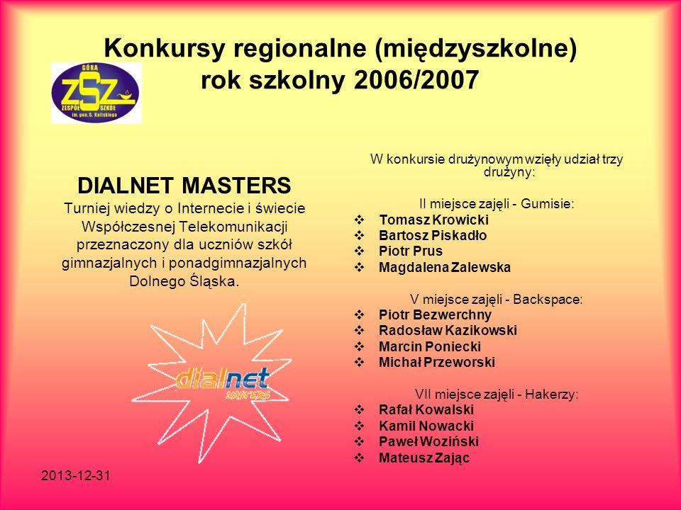 2013-12-31 Konkursy regionalne (międzyszkolne) rok szkolny 2006/2007 DIALNET MASTERS Turniej wiedzy o Internecie i świecie Współczesnej Telekomunikacj