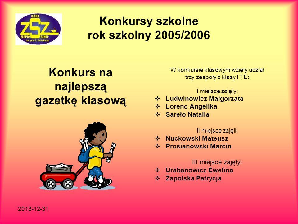 2013-12-31 Konkursy szkolne rok szkolny 2005/2006 Konkurs na najlepszą gazetkę klasową W konkursie klasowym wzięły udział trzy zespoły z klasy I TE: I