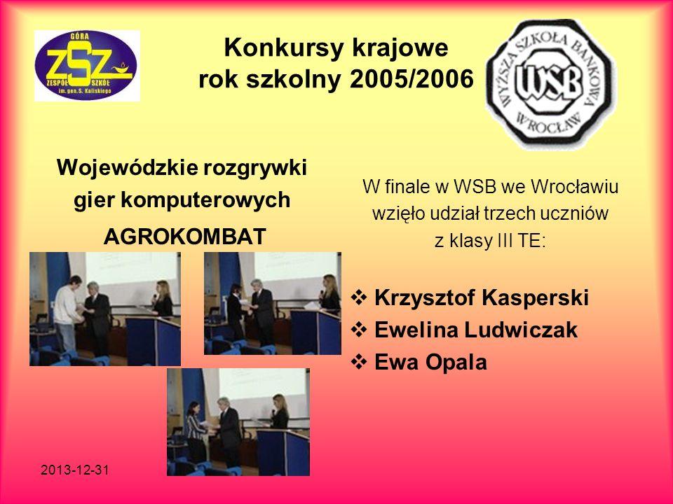 2013-12-31 Konkursy krajowe rok szkolny 2005/2006 Wojewódzkie rozgrywki gier komputerowych AGROKOMBAT W finale w WSB we Wrocławiu wzięło udział trzech