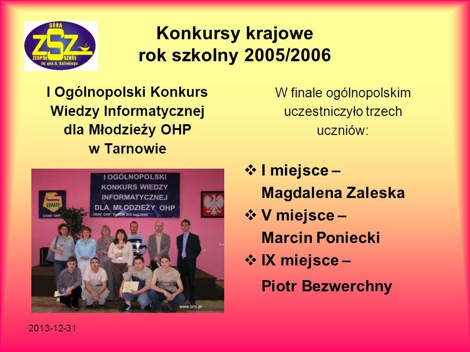 2013-12-31 Konkursy krajowe rok szkolny 2005/2006 I Ogólnopolski Konkurs Wiedzy Informatycznej dla Młodzieży OHP w Tarnowie W finale ogólnopolskim ucz