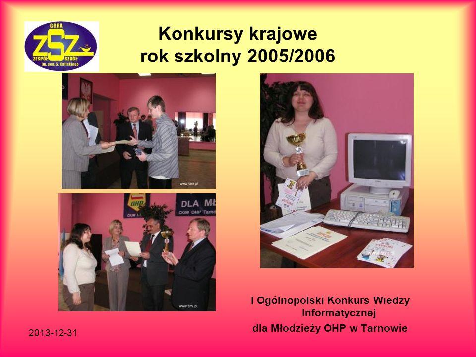 2013-12-31 Konkursy krajowe rok szkolny 2005/2006 I Ogólnopolski Konkurs Wiedzy Informatycznej dla Młodzieży OHP w Tarnowie