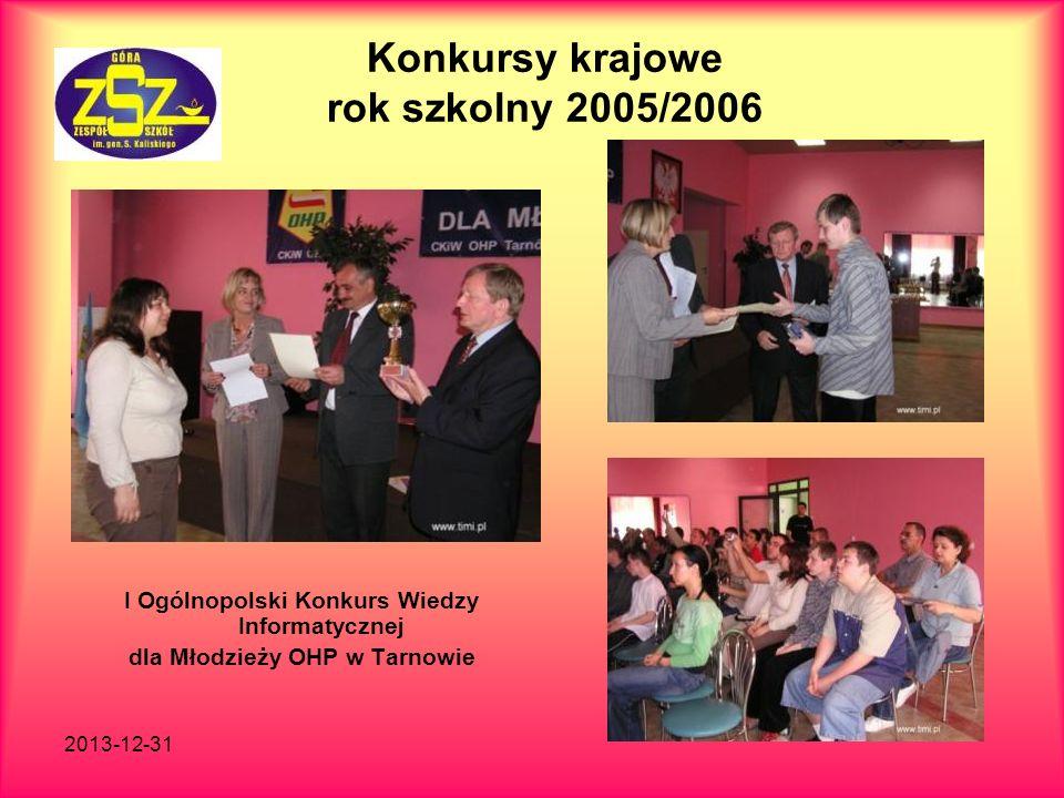 2013-12-31 Konkursy krajowe rok szkolny 2007/2008 Najlepsze zajęcia z przedsiębiorczości W konkursie uczestniczy dwóch uczniów: Krzysztof Polański Łukasz Będuch