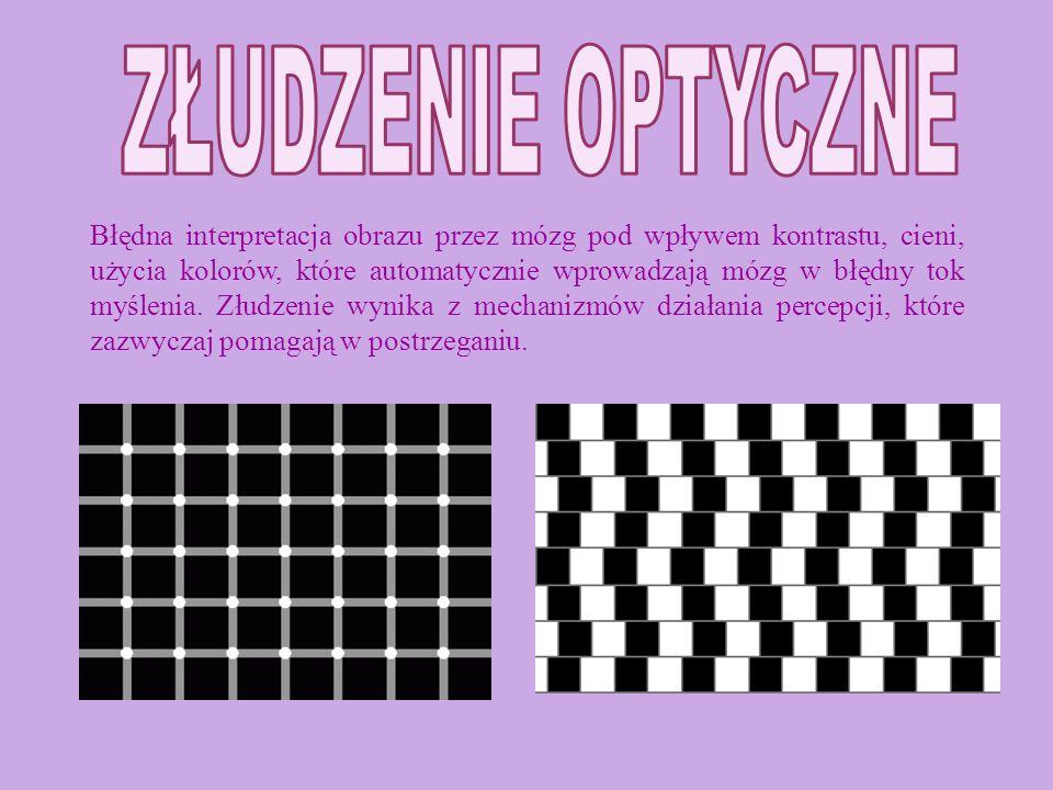 Błędna interpretacja obrazu przez mózg pod wpływem kontrastu, cieni, użycia kolorów, które automatycznie wprowadzają mózg w błędny tok myślenia.