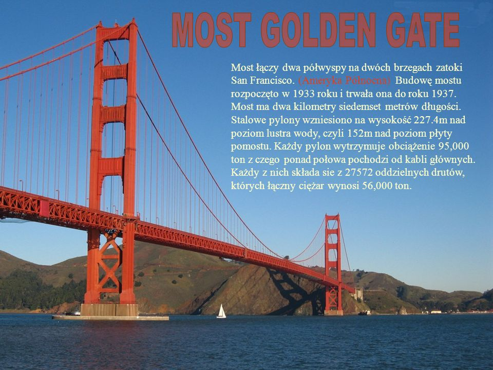 Most łączy dwa półwyspy na dwóch brzegach zatoki San Francisco.