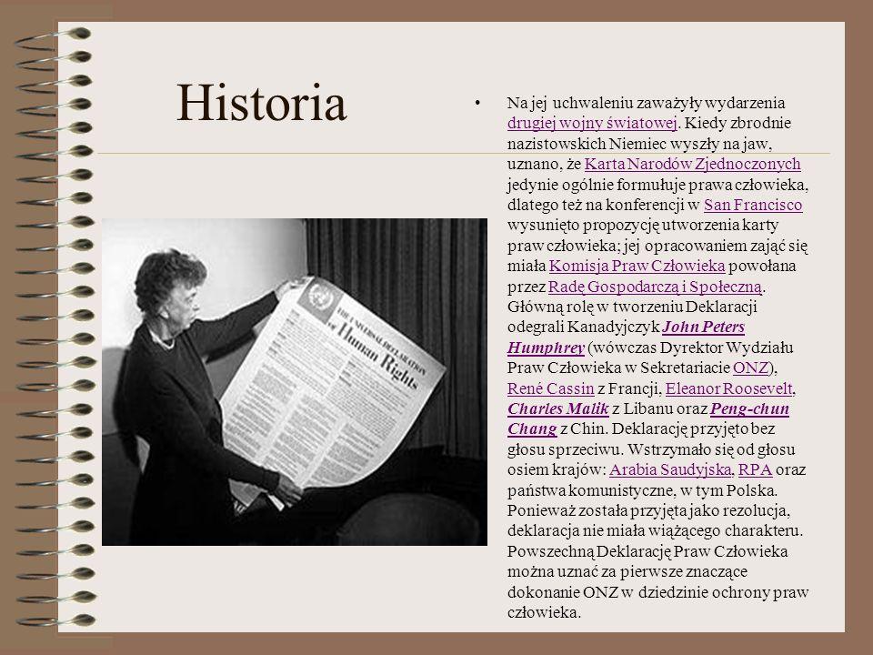 Historia Na jej uchwaleniu zaważyły wydarzenia drugiej wojny światowej. Kiedy zbrodnie nazistowskich Niemiec wyszły na jaw, uznano, że Karta Narodów Z