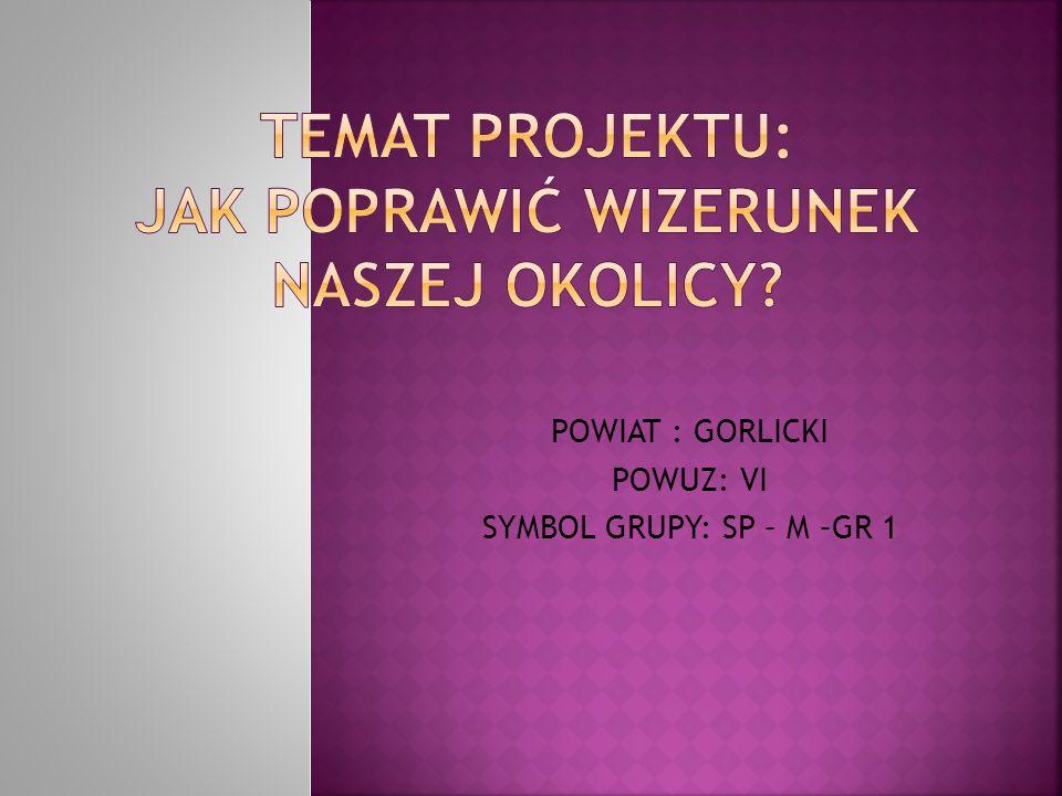 POWIAT : GORLICKI POWUZ: VI SYMBOL GRUPY: SP – M –GR 1
