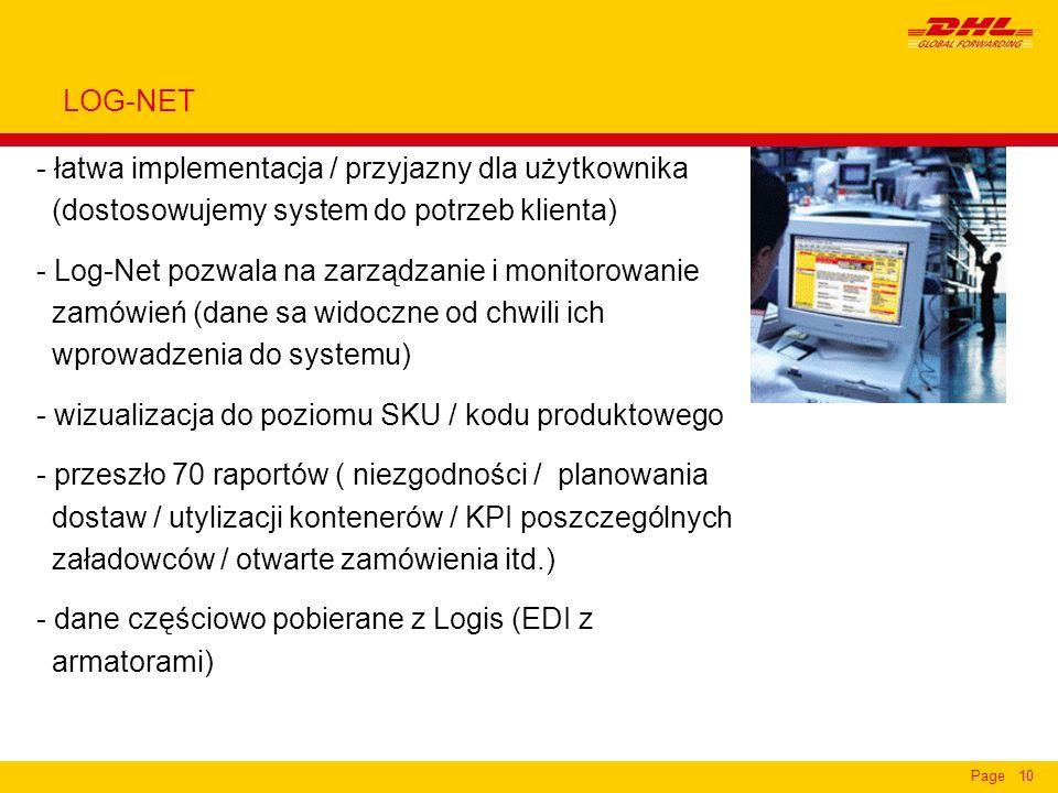Page10 - łatwa implementacja / przyjazny dla użytkownika (dostosowujemy system do potrzeb klienta) - Log-Net pozwala na zarządzanie i monitorowanie za