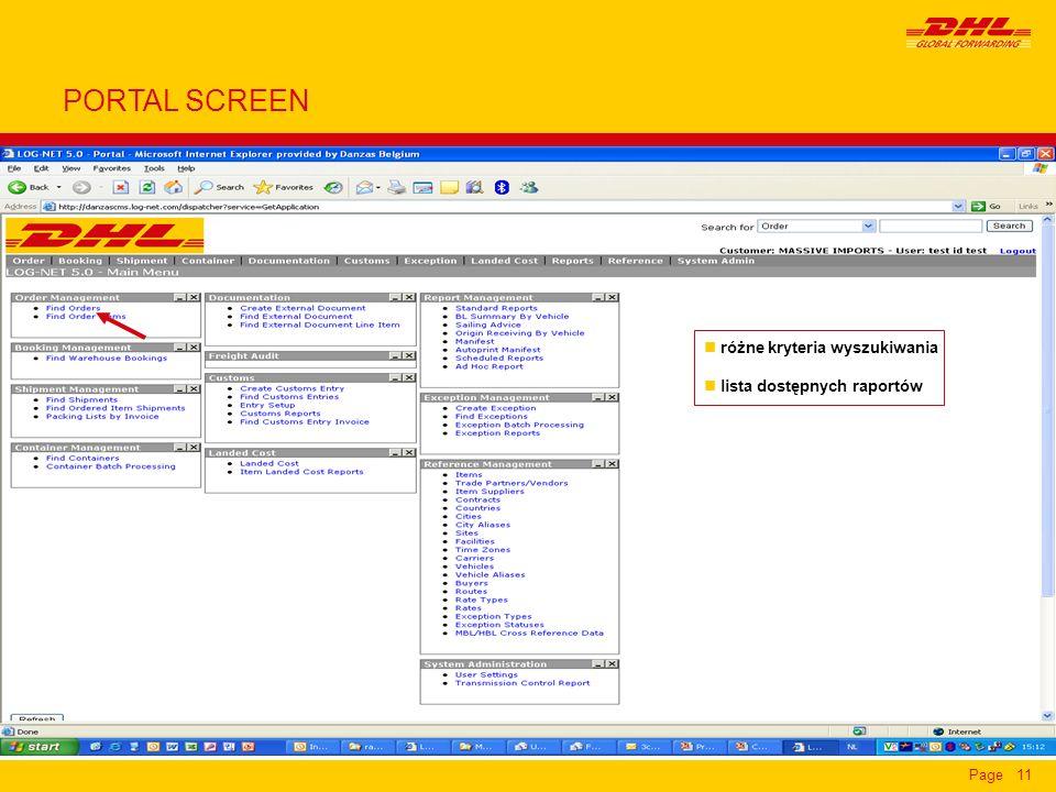 Page11 n różne kryteria wyszukiwania n lista dostępnych raportów PORTAL SCREEN