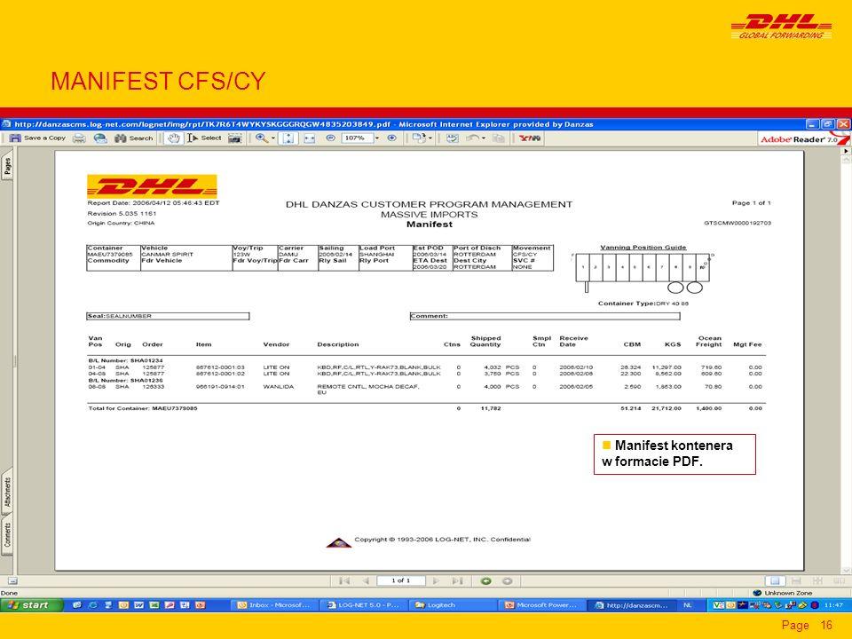 Page16 n Manifest kontenera w formacie PDF. MANIFEST CFS/CY