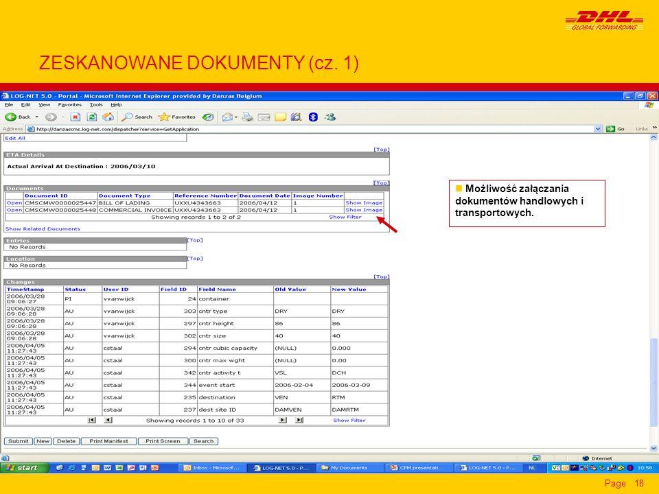 Page18 n Możliwość załączania dokumentów handlowych i transportowych. ZESKANOWANE DOKUMENTY (cz. 1)