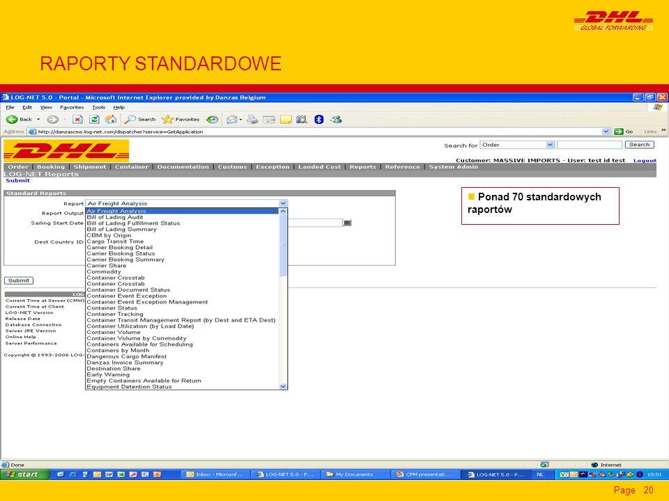 Page20 n Ponad 70 standardowych raportów RAPORTY STANDARDOWE