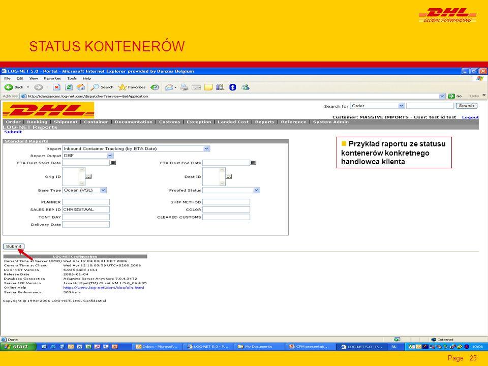 Page25 n Przykład raportu ze statusu kontenerów konkretnego handlowca klienta STATUS KONTENERÓW