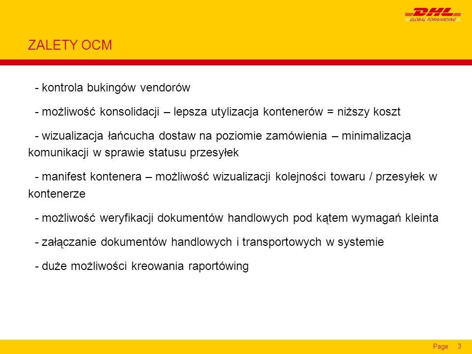 Page14 n Szczegóły dotyczące konkretnego towaru w ramach zamówienia wraz z informacją o bukingu, dacie dostawy do DGF i dacie wysyłki.