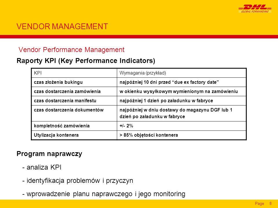 Page8 Vendor Performance Management Raporty KPI (Key Performance Indicators) Program naprawczy - analiza KPI - identyfikacja problemów i przyczyn - wp