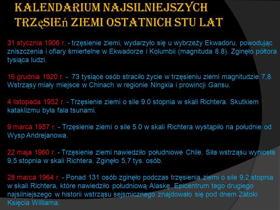 Kalendarium najsilniejszych trz ę sie ń ziemi ostatnich stu lat 31 stycznia 1906 r. - trzęsienie ziemi, wydarzyło się u wybrzeży Ekwadoru, powodując z