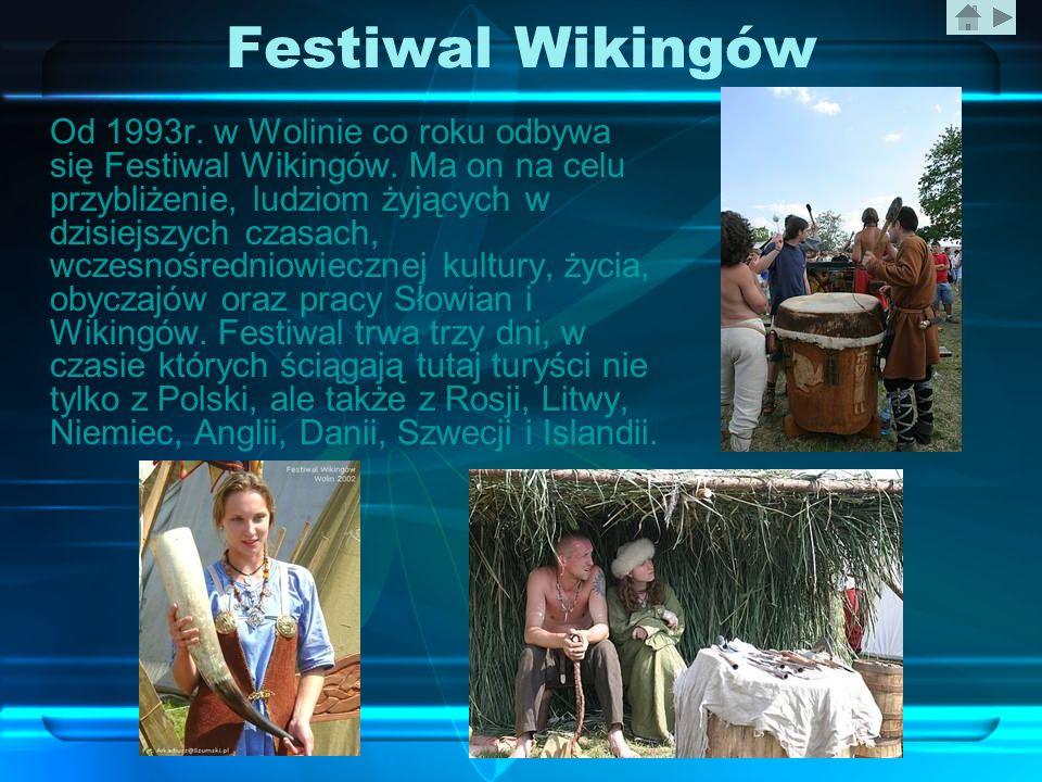 Festiwal Wikingów Od 1993r. w Wolinie co roku odbywa się Festiwal Wikingów. Ma on na celu przybliżenie, ludziom żyjących w dzisiejszych czasach, wczes