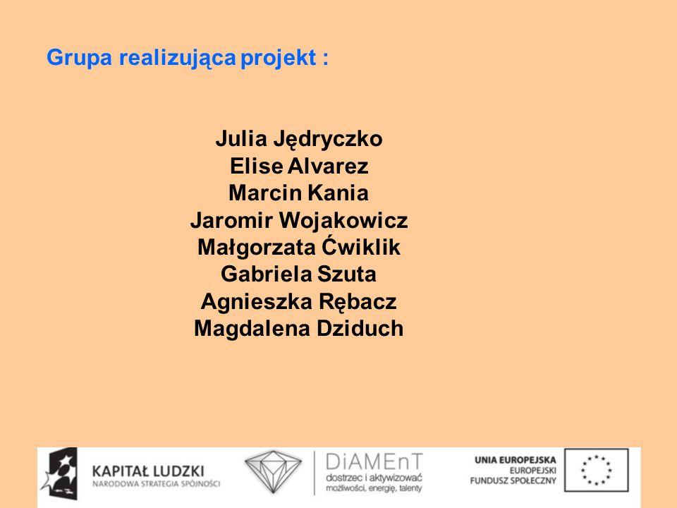 Grupa realizująca projekt : Julia Jędryczko Elise Alvarez Marcin Kania Jaromir Wojakowicz Małgorzata Ćwiklik Gabriela Szuta Agnieszka Rębacz Magdalena