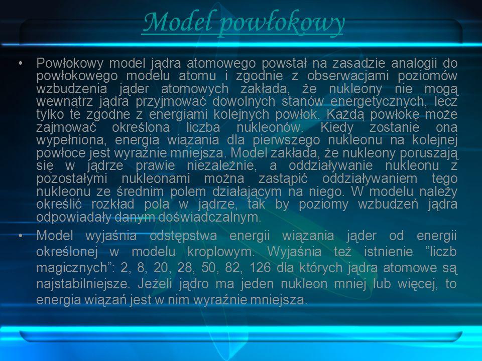 Model powłokowy Powłokowy model jądra atomowego powstał na zasadzie analogii do powłokowego modelu atomu i zgodnie z obserwacjami poziomów wzbudzenia