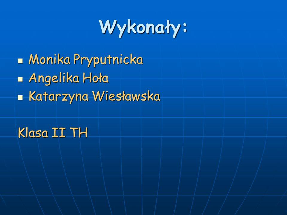 Wykonały: Monika Pryputnicka Monika Pryputnicka Angelika Hoła Angelika Hoła Katarzyna Wiesławska Katarzyna Wiesławska Klasa II TH