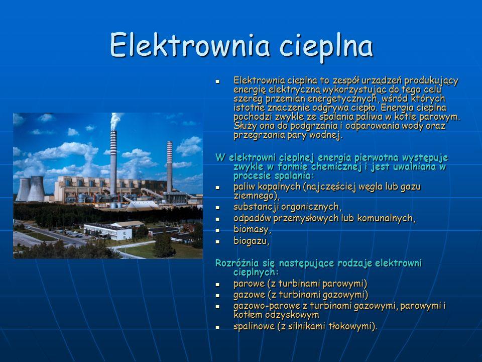 Elektrownia cieplna Elektrownia cieplna to zespół urządzeń produkujący energię elektryczną wykorzystując do tego celu szereg przemian energetycznych,