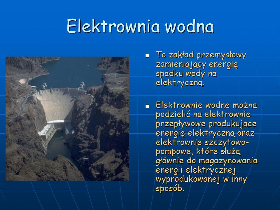 Elektrownia wodna To zakład przemysłowy zamieniający energię spadku wody na elektryczną. To zakład przemysłowy zamieniający energię spadku wody na ele
